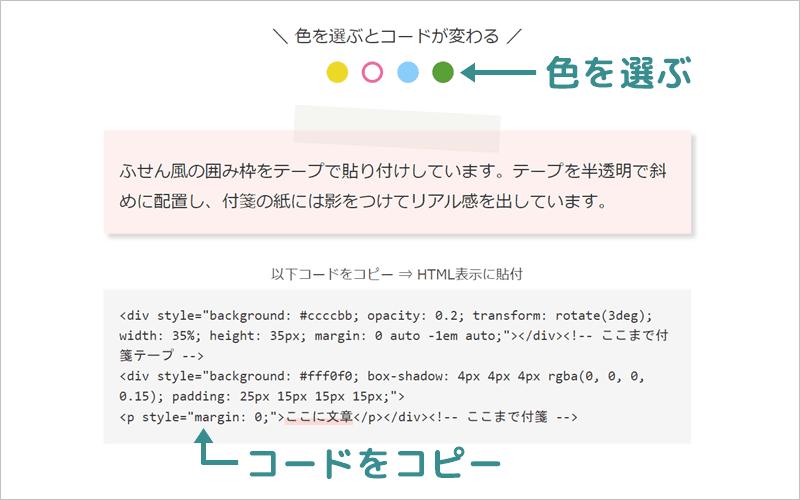 付箋のHTMLコードをコピーする
