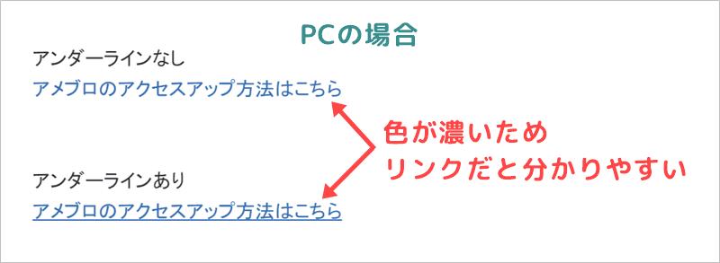 アメブロのリンクのアンダーラインはPCでは有無どちらでもOK